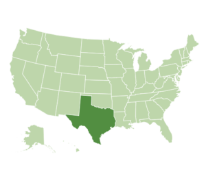 US map highlighting Texas