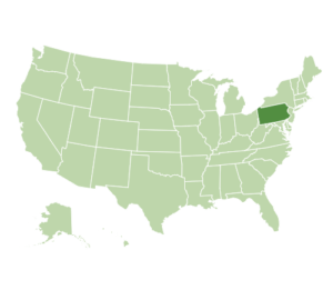 US map highlighting Pennsylvania