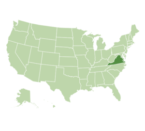 US map highlighting Virginia
