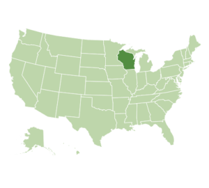 US map highlighting Wisconsin
