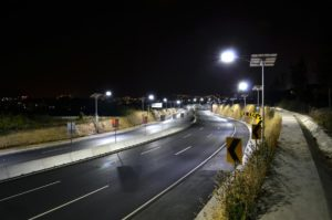 Solar street lights for a highway in Mexico