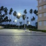 Equatorial solar parking lot lights in Zanzibar