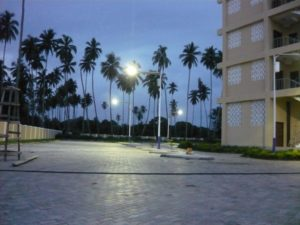 Equatorial solar parking lot lights in Zanzibar