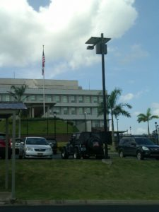Equatorial solar parking lot light in Panama