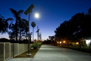 Sol Greenway solar pathway lights at night in Otay Valley