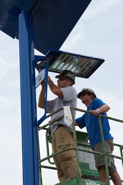 Indian River State College solar powered street lights installation in progress