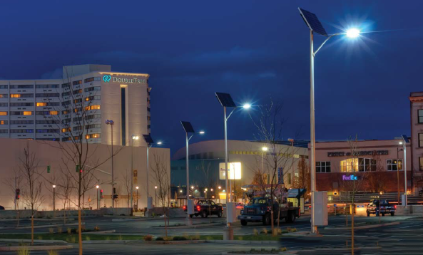 Central city solar parking lot lights