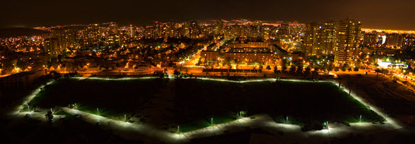 Juan Pablo II Park solar LED lighting nighttime