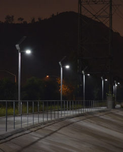 Solar pathway lights at night in Los Angeles
