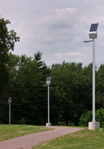 Installing solar-powered LED lights in Thut Park, Madison
