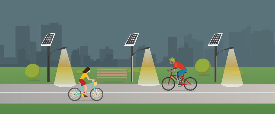 Solar lights on a bike path graphic