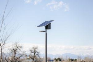 Solar park lights in Sand Creek Park, Aurora, CO