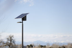 Sand Creek Park solar LED park lights, Aurora, Colorado - Daytime