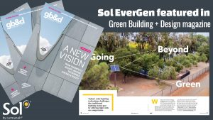 Cover and inside spread of Sol EverGen featured in Green Building + Design magazine