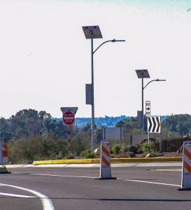 intersection in phoenix, arizona with solar-powered street lights