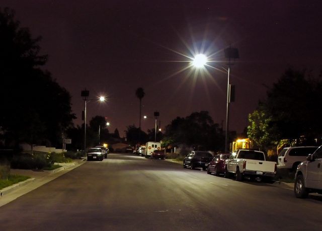 solar street light installation in los angeles, california