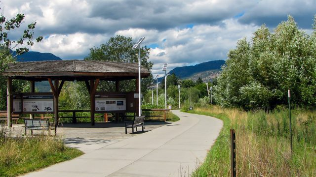 solar pathway lights in rotary marsh in kelowna, british columbia, canada