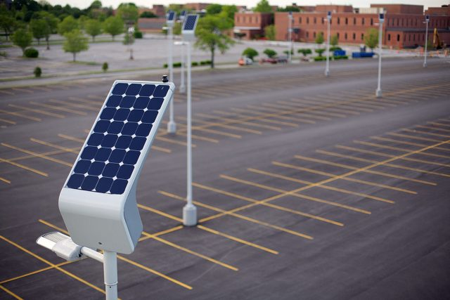 Carmanah solar powered LED lamps at GSA parking lot, St. Louis