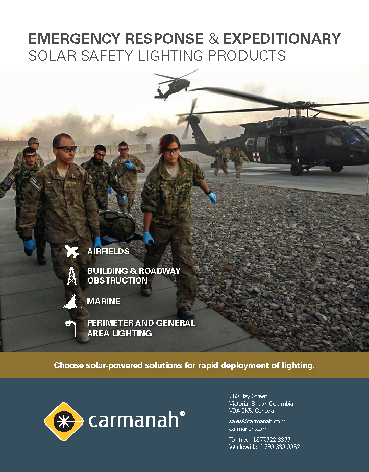 Disaster relief brochure cover. Solar Backup and Safety Lighting Solutions can help during disasters like flooding.