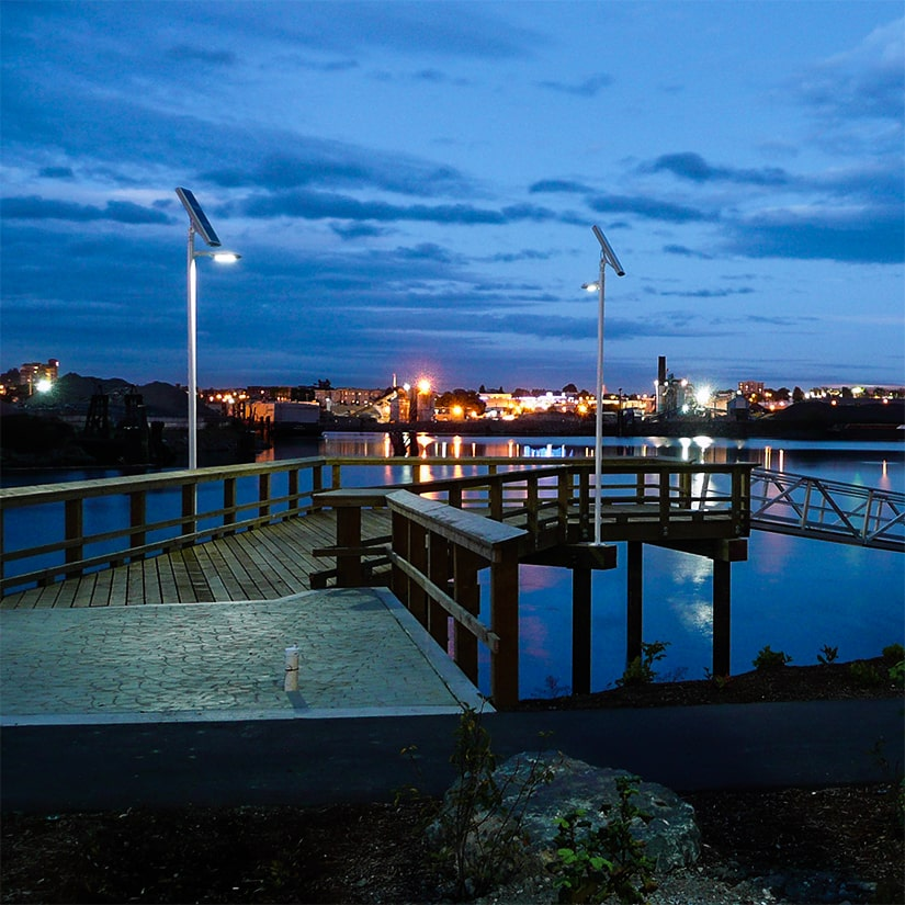 Carmanah solar-powered commercial area light at Dockside Green in Victoria, BC