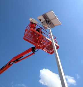EverGen installation in Dubai using bucket truck