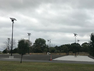 evergen lights installed in a parking lot at eastern