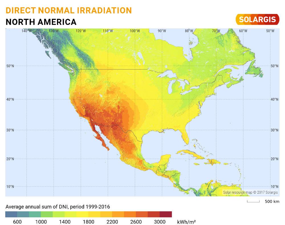 Direct Normal Radiation Solar United States